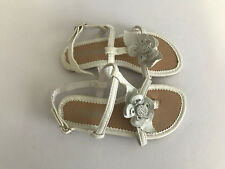 BNWOT Little Girls Sz 11 Pretty White Flower Little Treasure Strappy Sandals