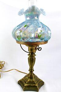 Fenton Misty Blue &Hand Painted Irises Paisley Iridized Student Lamp D. Barbour