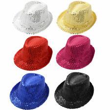 New Unisex Fedora Sequin Hat Shiny Sparkle Cap Costume Prom Dance Party