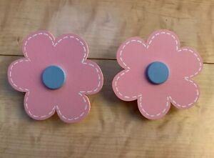 Pink Daisy Flower Wooden Nursery Quilt Clips Set Of 2