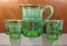EAPG NORTHWOOD Regal Emerald Green Opalescent 5 Piece Water Pitcher & Glass Set