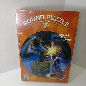 """Master Pieces """"Wizard's Dragon Crystal"""" 500 Piece Puzzle 19.5"""" Round Sealed"""