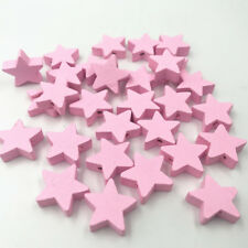 50pcs Pink Star shape Wood Beads Spacer Bead Baby Pacifier Clip Jewelry Making