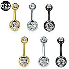 1PC Titanium Crystal Gem Dangle 14G Navel Belly Button Ring Piercings Jewelry