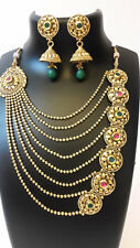 Indian Fashion Jewelry  Bollywood Necklace Gold Bridal New Traditional Set Sa 3