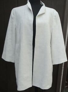 Eileen Fisher open front ivory long Jacket Blazer Size Plus 1X, cotton blend