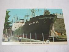 Sunrana Ocean Freighter Ship Sea Locks Sault Ste. Marie Mich Vtg. Postcard  T*