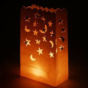 40 LED Battery Candle & 40 White Candle Lantern Bag Night Star Outdoor BBQ BULK