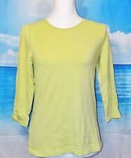 CHICO'S (size O) Woman's SAGE GREEN Knit TUNIC Top STRETCH 3/4 Sleeves Size S-M