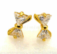 Yellow Gold Plated Stud Trillion Costume Earrings