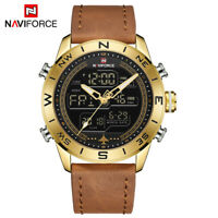 NAVIFORCE 9144 Men Military Leather Sports Day Date Analog Quartz Digital Watch