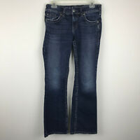 SIlver Womens Denim Blue Jeans Suki Surplus Bootcut Distressed Fraying 28 X 30