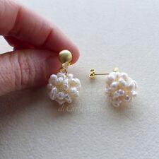 Orecchini argento 925 placcato oro pon pon perle di acqua dolce