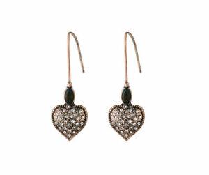 61431 Black/Antique Gold Colour heart Diamante drop earrings