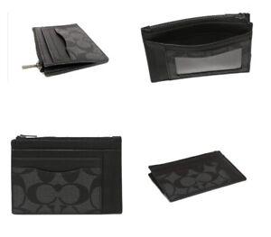 Coach Multiway Zip Card Case In Signature Canvas (F66649) Charcoal / Black QBMI5
