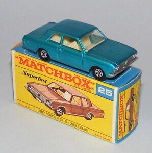 MATCHBOX SUPERFAST #25a FORD CORTINA GT MARK 2 TRANSITIONAL BOX NEAR MINT BOXED