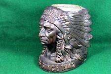 Rare 1842 IROQUOIS Beer Foam Scraper Holder Pot Metal Indian Chief Bust