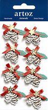 Xmas Pine Cone Decorations Christmas Card Topper Craft Embellishment Sticker