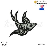 SKULL BIRD HALLOWEEN Embroidered Iron On Sew On Patch Badge