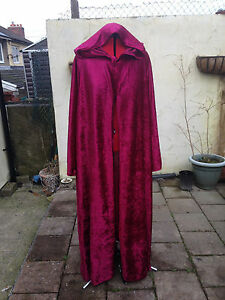 crushed velvet wine/burgendy cloak with sleeves pointy hood more colours wizard
