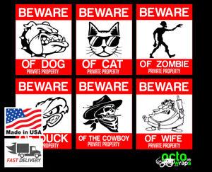 Beware of dog cat wife cowboy sign pvc sticker funny aluminum texas house garden