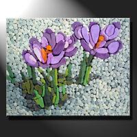 Original mosaic artwork painting porcelain spring time crocus flowers GeeBeeArt