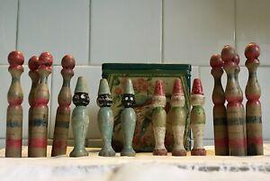 Antique Wooden Skittles X 2 Sets