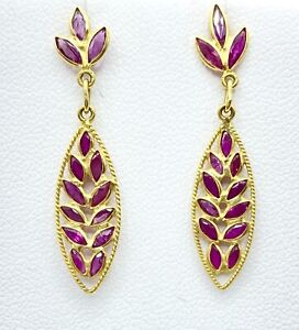 1.50 NATURAL marquise RUBY dangle earrings SOLID 22k GOLD