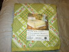 Nos Vtg Charles D Owen Country Charm Printed Twin / Full Blanket yellow 72 x 90