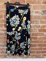 NEXT WOMENS FLORAL NAVY MIDI SKIRT WITH SIDE SPLIT SIZE: 8 BNWT RRP £32.00
