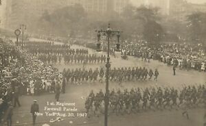 pc10967 postcard WWI Farwell Parade NY postally used 1917 RPPC