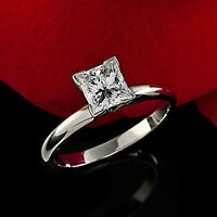 Solitaire .72 Carat SI2/D Princess Cut Real Diamond Engagement Ring White Gold