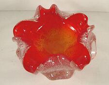 Murano Schale Barovier & Toso / guter Zustand / Überfangglas Rot mit Silberfolie