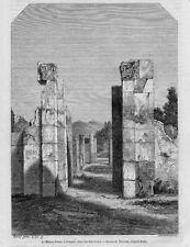 Stampa antica POMPEI Casa di Pansa Napoli 1857