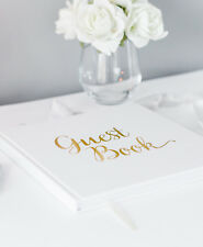 Guest Book for Wedding, Birthday, Christening, Party - Guestbook White & Gold