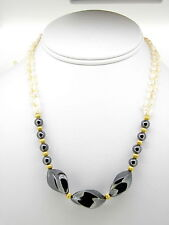 Necklace Rice Pearls Hematite and Gold Filled corrugated balls and clasp Beads