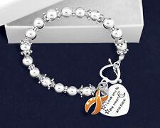 Multiple Sclerosis MS Awareness Support Bracelet Ribbon I Love you Moon & Back