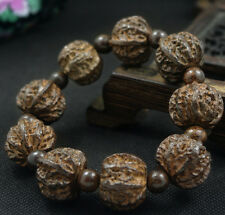 Chinese manual sculpture natural sandalwood  walnut 20MM men bracelet