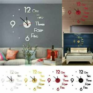 2020 Modern DIY Large Wall Clock 3D Mirror Surface Sticker Big Watch Decor New