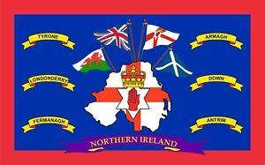 Ulster Loyalist And Tourist 6 County's Flag 5x3 Top Quality Polyester