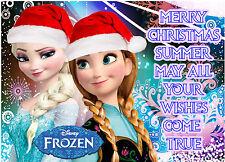 DISNEY Princess Frozen Anna Elsa TRECCIA Glassa Commestibile Festa di Natale CAKE TOPPER