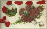 Textured Beaded Good Luck Floral Flower Art Postcard