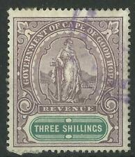 SOUTH AFRICA / CAPE OF GOOD HOPE QV 1898 THREE SHILLINGS REVENUE USED