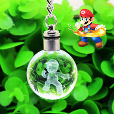 New Super Mario 3D Crystal Ball LED Night Light Key Rings Chains Creative Gift