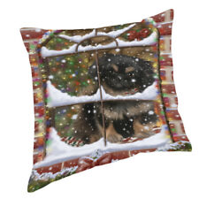 Please Come Home For Christmas Pekingese Dog Sitting In Window Pillow Pil49716