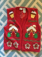 Large Bobbie Brooks Ugly Christmas Sweater Cotton Gingerbread Men