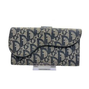 100% Authentic Christian Dior Navy Blue Canvas Wallet