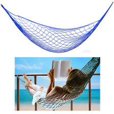 Single Nylon Weave Rope Hammock Swing Outdoor Lounge Bed 220lb Capacity Blue
