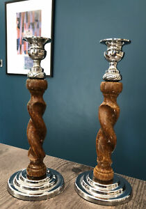Candle Holder Candle Stick Pairs Arts & Crafts Deco Style Wood Metal Chrome