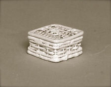 Small White Wire Square Basket, Dolls House Miniature, Laundry, 1.12 Scale
